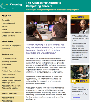 Photo of a screenshot of the new AccessComputing website front page
