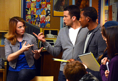 In a scene from the show Switched at Birth, Daphne talks to two other students about protesting the closure of their predominately deaf school.