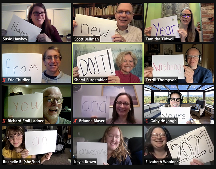 "DO-IT Staff, Partners, and Students hold up signs saying ""Happy New Year from DO-IT! Wishing You and Yours an Awesome 2021."