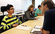 Image of a student in an interview