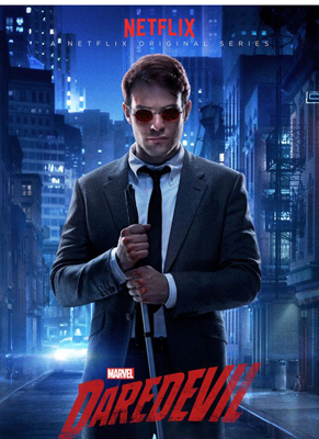 A profile of Matt Murdock (Daredevil) with his white cane in hand and the city behind him.