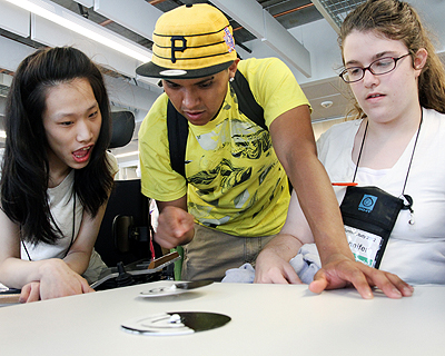 Image of students experimenting with new materials