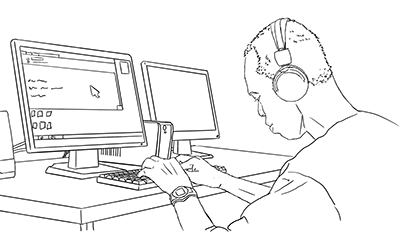 A person who is blind uses a computer.