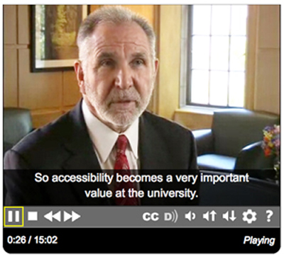 captioned still from the Campus Leaders video shows University of Washington President Michael Young talking about accessibility.