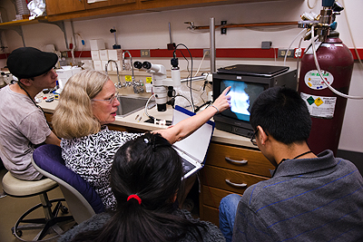 Image of students and an instructor showing observation results during a neurobiology lab