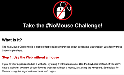A screenshot of nomouse.org.