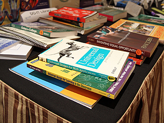 Image of disability-related and universal design books and resources