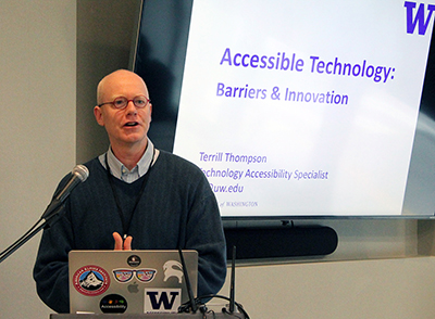 Terrill Thompson presents on accessible technology.