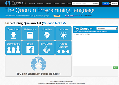 Homepage for the Quorum Programming Language.