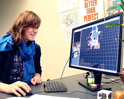 Image of an instructor using a computer