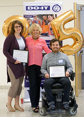 Sheryl Burgstahler congratulates Trailblazer recipients Krista and Sean at DO-IT's 25th anniversary celebration.