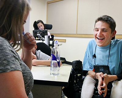 Image of a student enjoying being interviewed