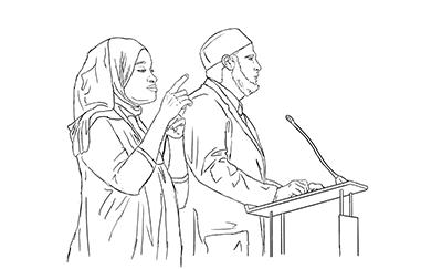 Women interpreting a speech