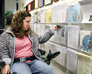 Image of a student browsing publications.