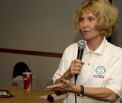 Photo of a DO-IT Director Sheryl Burgstahler giving a speech.