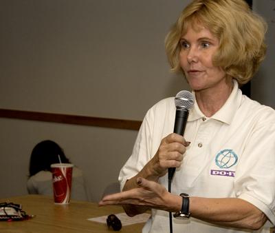 Photo of a DO-IT Director Sheryl Burgstahler giving a speech.