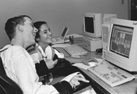 Photo of Shane and Rachel in the computer lab