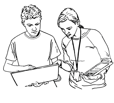 A student and an instructor look at a computer together.