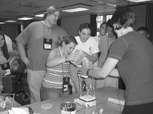 Image of a group of students conducting a science experiement