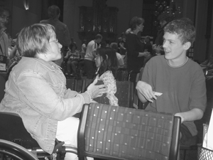 Photo of student speaking with Mentor.