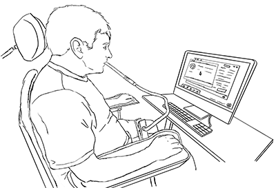 A student uses a puff and sip to use a computer