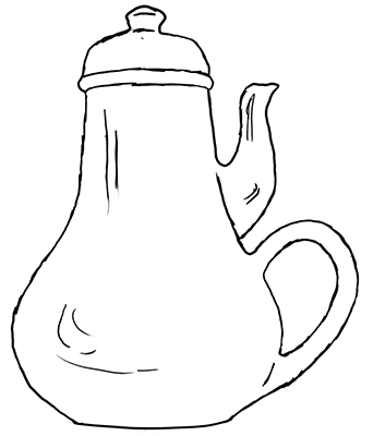 a teapot with the handle and spout on the same side