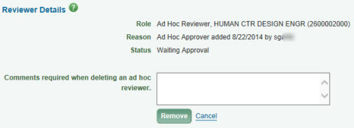 remove ad hoc reviewer dialog