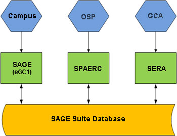 Graphic showing that the SAGE Suite accesses one database