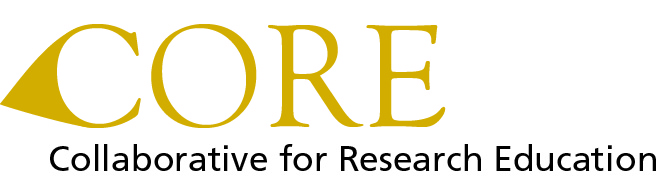 "Large gold text with the acroynms C, O, R, E, and below smaller, black text with ""Collaborative for Research Education"""
