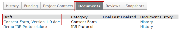 Screen shot of Zipline showing where to find documents needing revision when completing a modification