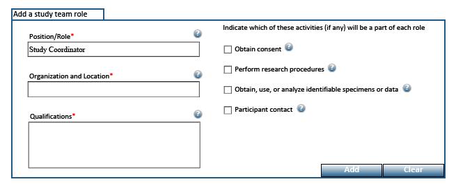 Screen shot of the Study Roles Addendum form