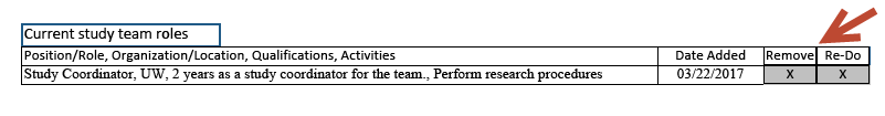 Screen shot of the table in the Study Team Roles Addendum form