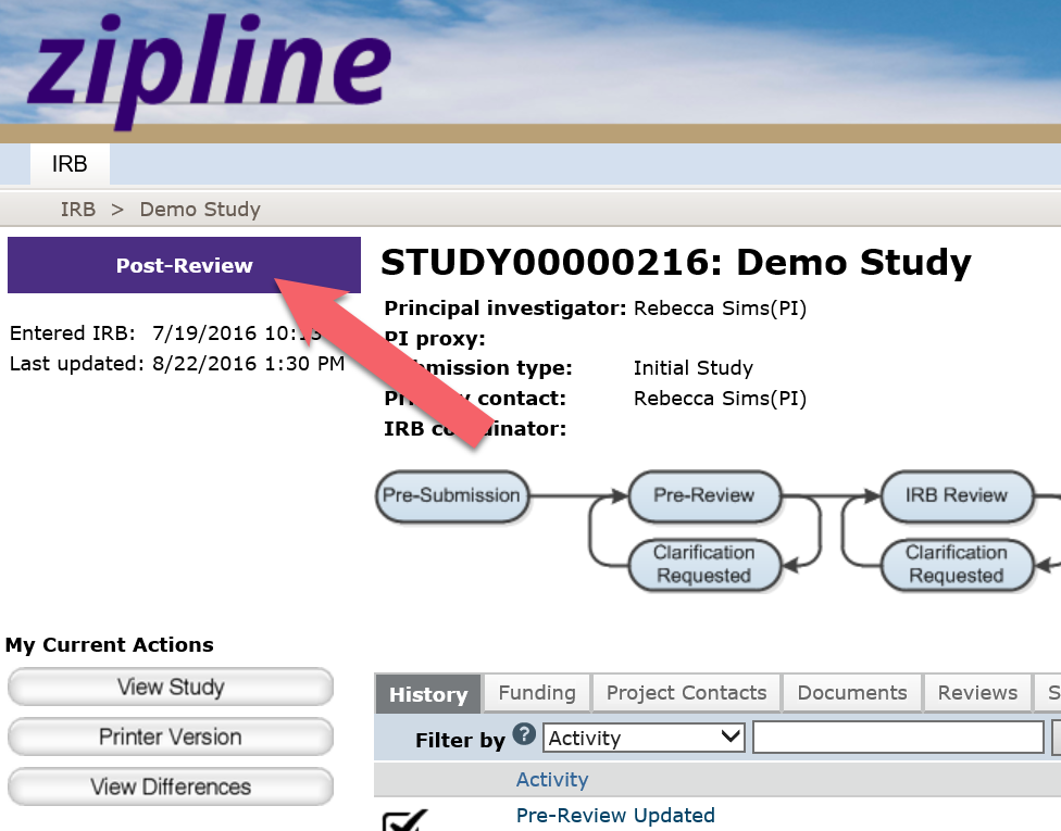 Screen shot from Zipline with a red arrow pointing to where you can find the study submission status