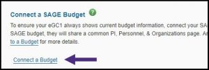 Screen shot of connecting a budget in SAGE