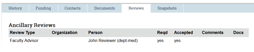 screenshot of an accepted faculty advisor review
