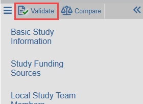 screenshot of the validate button in the lefthand navigation menu