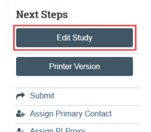 Edit Study Button under next steps