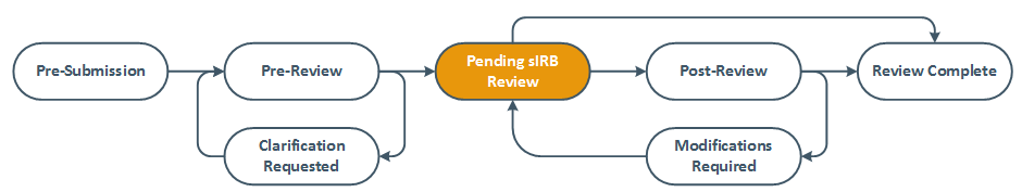 Screenshot of the review diagram with Pending sIRB review highlighted