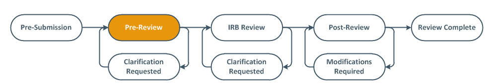 Screenshot of the review diagram with Pre-Review highlighted