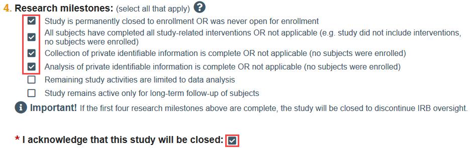 screenshot of a study closure request