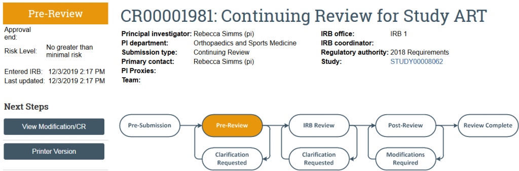 screenshot of a continuing review in Pre-Review state