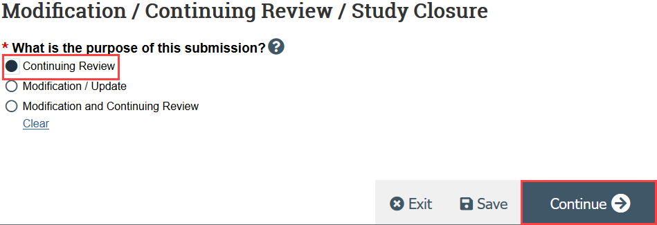 screenshot of the continuing review purpose page