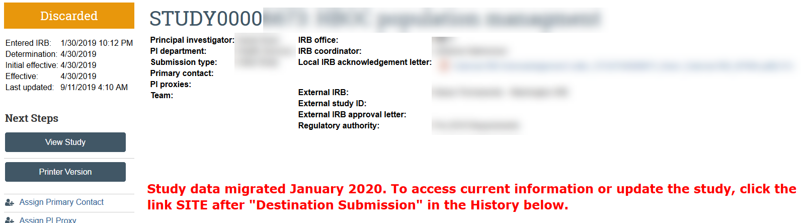 external IRB study discarded due to data migration