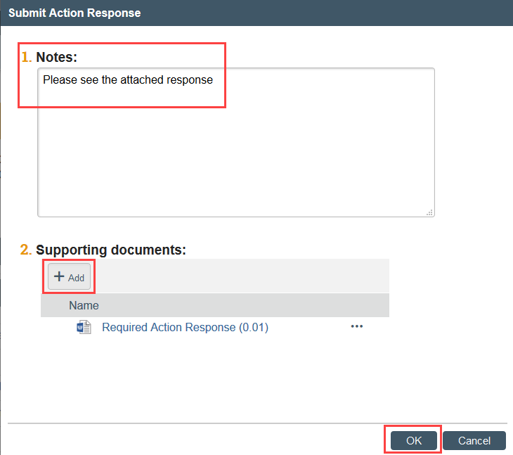 screenshot of the submit action response window