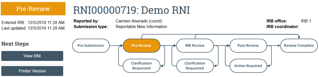 screenshot of the RNI in Pre-Review state