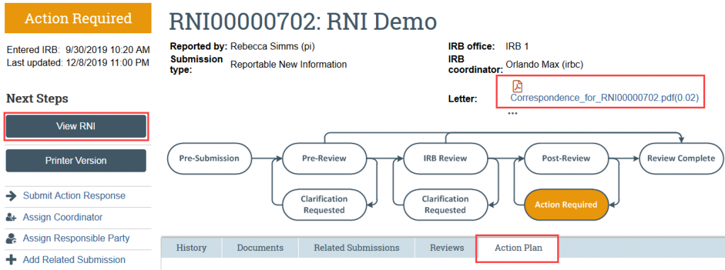 Screenshot of the RNI workspace with the action letter, view RNI, and action plan tab highlighted