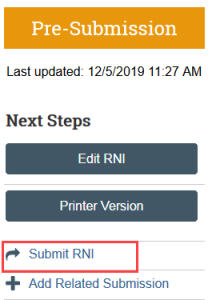 Screenshot of the Submit RNI button in Zipline