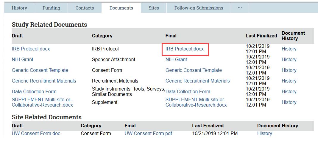 screenshot of documents tab highlighting the final version