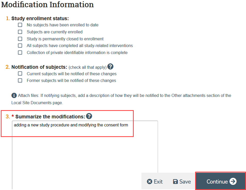 screenshot of modification information page