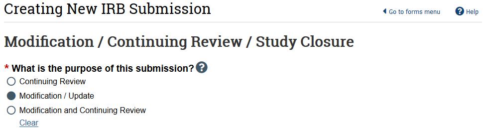 screenshot of modification purpose question
